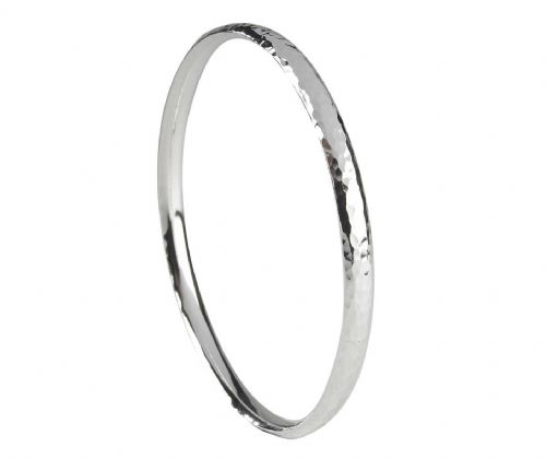 Solid Heavyweight Hammered Sterling Silver Round Bangle SCOB3H